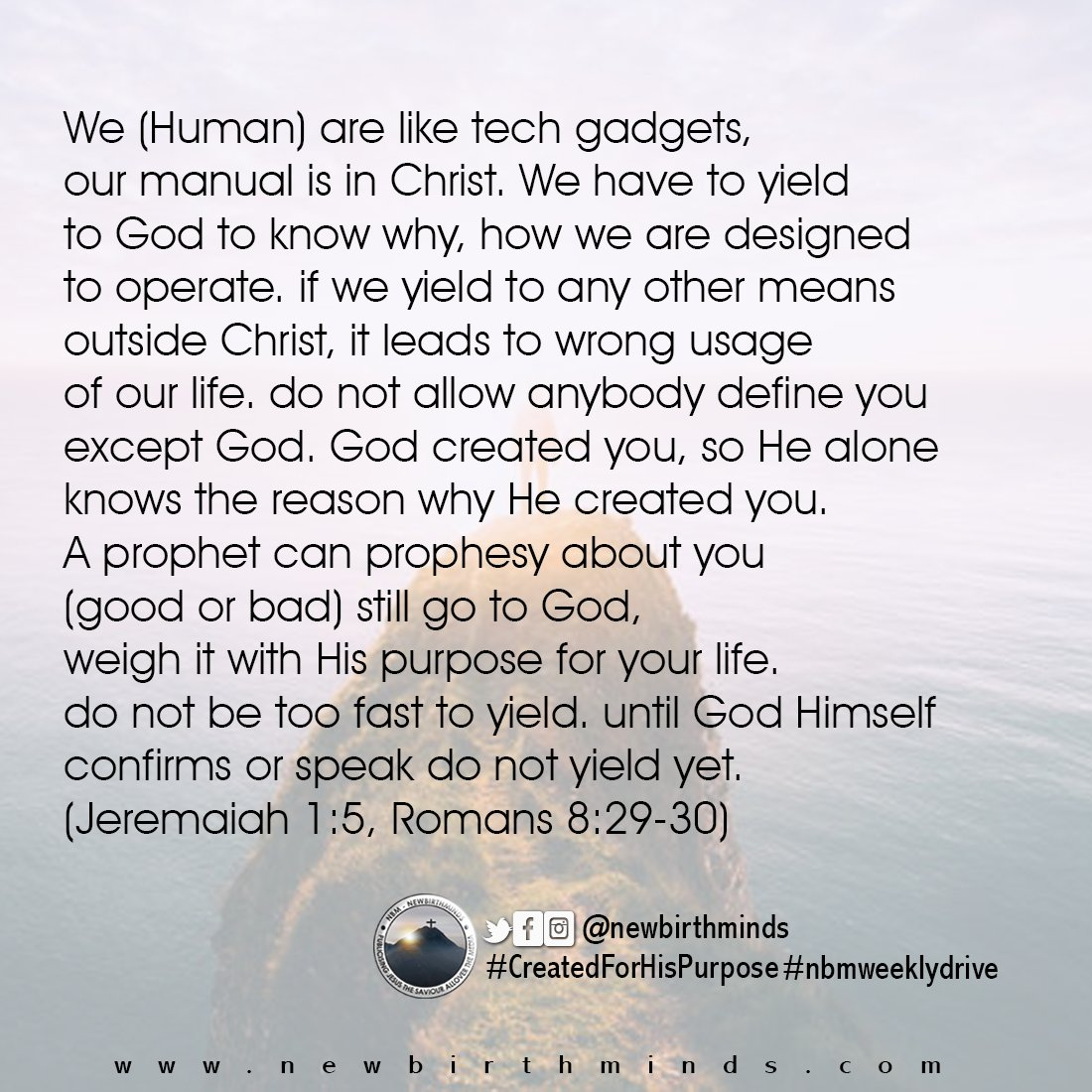 THIS WEEK DRIVE – CREATED FOR HIS PURPOSE