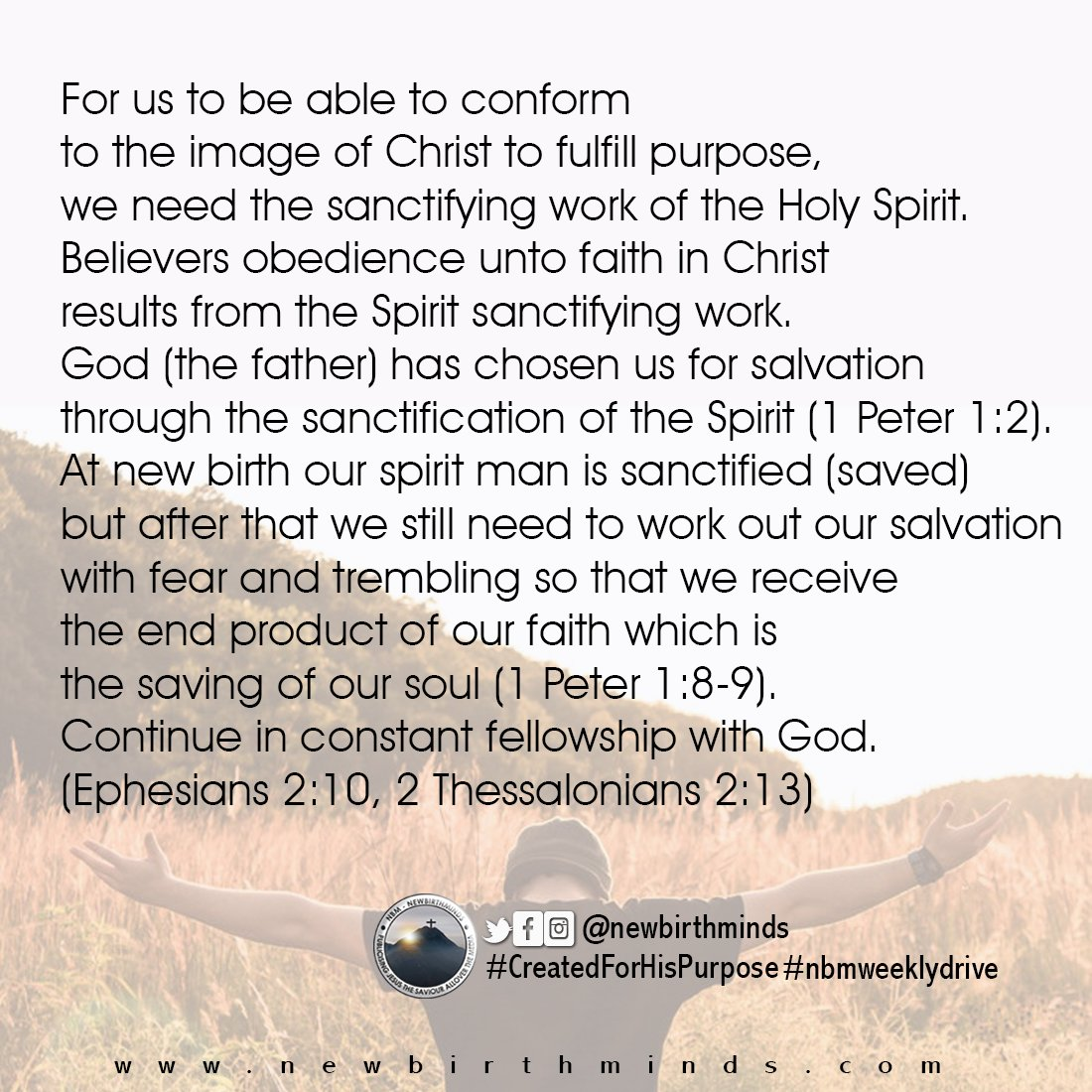 THIS WEEK DRIVE – THE SANCTIFYING WORK OF THE HOLY SPIRIT